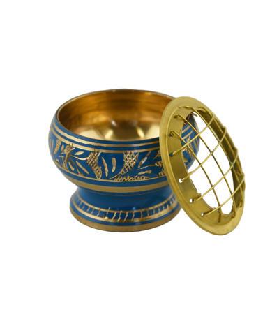 Zdobená kadidelnica s mriežkou modrá